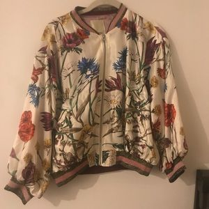 Anthro silky bomber jacket in floral print